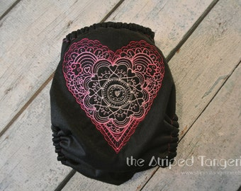 On Sale - Embroidered Doodle Heart Black Ai2 Diaper - OS All in Two Cloth Diaper- AI2