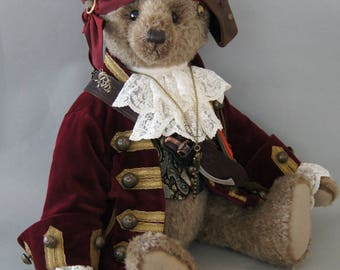 Ragetti the Pirate, a 48 cm taupe colored mohair teddy bear.