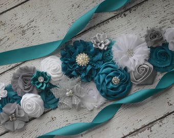 Teal white grey sash, flower Belt, maternity sash, wedding sash, flower girl sash, maternity sash belt