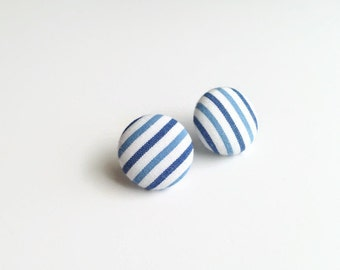 Striped stud earrings blue white - Fabric earrings nautical - Fabric covered button jewelry eco-friendly Mademoiselle Bouton Made in Quebec