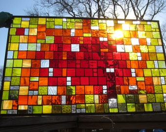 Orange and Red Custom Stained Glass Window Panel with Yellow border