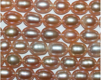 FWP Salmon Peach Oval Fresh Water Pearl 7-8mm.-Strand 38cm.