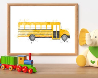 Yellow school bus print, schoolbus printable, bus wall art, yellow bus print, transport printable, boy room wall art, toddler bedroom decor