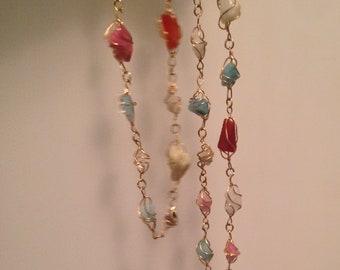 Vintage 1960s Quartz Gemstones Necklace 14K Gold Filled Muti Gemstone/ Natural Quarts Necklace Artisan Gold Wire Wrapped Caged Necklace