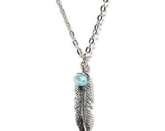 Silver Toned Feather Charm Necklace with Aqua Crystal Bead