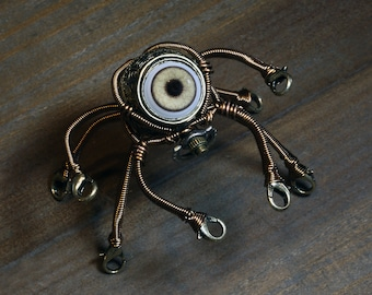 Little Steampunk Octopus Robot Sculpture with Glass Dome Display