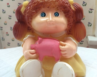 Vintage Cabbage Patch Kids Coin Bank Girl kids toy Bank child PINK piggy bank b0x 130gy bank