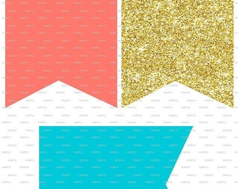 Printable Instant Download coral Gold Turquoise Party or shower Banner Garland Decor