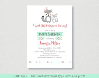 Tribal Fox Baby Shower Invitation / Fox Baby Shower Invite / Tribal Baby Shower / Editable PDF INSTANT DOWNLOAD A165
