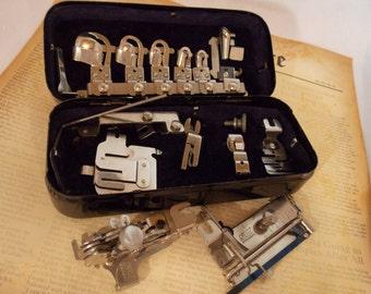 Vintage Greist Sewing Attachments, 5 Stitch Ruffler, Greist Tuck Spacer, Greist Hemming Attachments, Rotary Machine Attachments