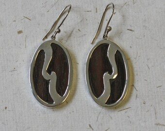 Wood Earrings / Oval Wood Earrings / Mahogany Wood / Summer / Wedding Anniversary / 5 Year Anniversary / Summer Earrings