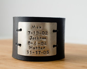 Hand Stamped Child's Name  and Birthdate Custom Text on Wide Black Distressed Leather Cuff