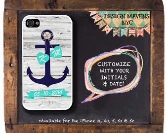 Anchor Love iPhone Case, Personalized Nautical Monogram iPhone Case, iPhone 4, 4s, iPhone 5, 5s, 5c, iPhone 6, 6s, 6 Plus, SE, Phone Case