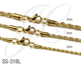 Gold Plated 18K, 2mm, 3mm, 4mm thick - Stainless Steel 316L Rope Chain Necklace Men Women - 16in 18in 20in 22in 24in 26in 28in 30in Length