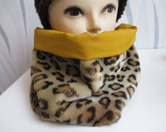 woman synthetic Panther or leopard fur snood, mothers day gift
