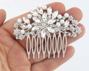 Bridal Comb, Pearl Hair Comb, Bridal Headpieces, Wedding Hair Accessory, Crystal Pearl Hair Pin, Silver Rhinestone Hair Combs