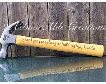 Thank you for helping me build my life, Daddy! - engraved wooden hammer - Father's Day