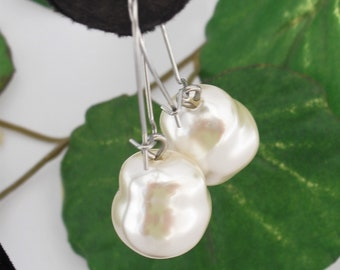 Large Baroque Pearl Earrings, Wedding Bridal Jewelry Creamy White Faux Pearls, Dangle Drop Earrings, Gift for Her