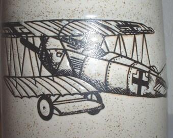 WWI Red Baron von Richtoven Fokker biplane ceramic beer stein/coffee mug