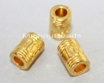 5 Bright GOLD 10mm TIBETAN Style Tube Barrel Beads - 10x6mm w/ Large 3.5mm Hole Nickel Free Metal Tube Boho Beads - USA Seller - 5744