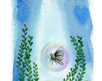 Bubblefly - 8x10 Art Print  - Moth Butterfly in Bubble in the Ocean - Art by Marcia Furman