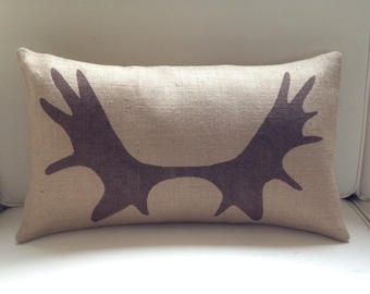 Burlap (hessian) moose elk antlers pillow cover