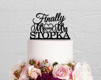 Wedding Cake Topper,Finally Cake Topper,Mr And Mrs Cake Topper,Wedding Decoration,Custom Cake Topper,Last Name Cake Topper