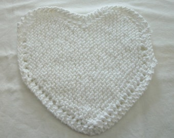 Hand Knit White Dishcloth - measures approximately 81/2x81/2 from widest point to widest point