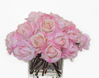 Large Real Touch Pink Rose Arrangement with Square Glass Vase Artificial Flowers Faux Arrangement for Home Decor Centerpiece