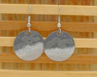 grey & silver small circle enamel earrings