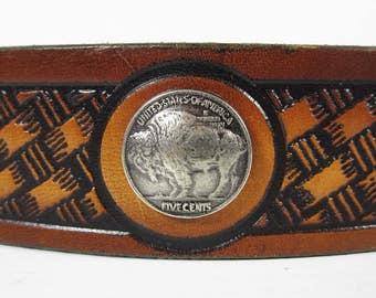 Vintage Buffalo Nickel cuir ceinture en cuir brun estampillé taille 28