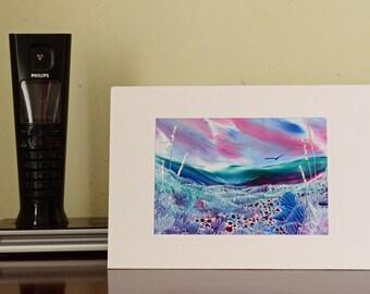 Encaustic Wax Original Art Card, Burgundy Valley, Landscape style