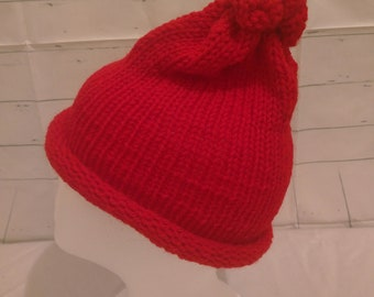 Adult Hand Knitted Red Beanie Hat