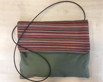 handmade canvas messenger / crossbody bag with leather details