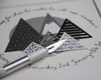 New baby mountain art gift – personalised newborn present – custom baby gift – newborn gift – monochrome art – geometric art –tribal art