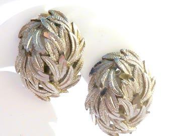 Vintage Large  Earrings, Layered Leaf,  Clip On Earrings.