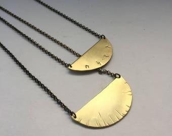 Shield Necklace in Brass