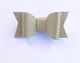 Gold hair bow, faux leather, mybowcloset, hair bows