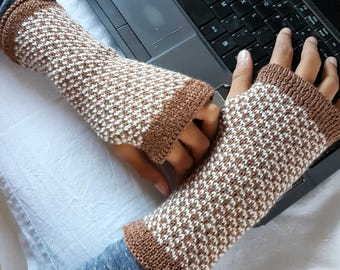 Knit Fingerless Gloves, Wrist Warmers, Fingers mittens, Gift for Him or Her