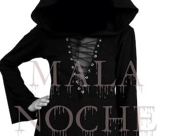 Ritual Dress, Black  dress, Oversize hood and sleeves, Goth dress, Dark dress, Witch dress, Black dress, Cotton
