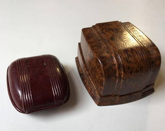 Two Vintage Plastic Bakelite Ring Boxes