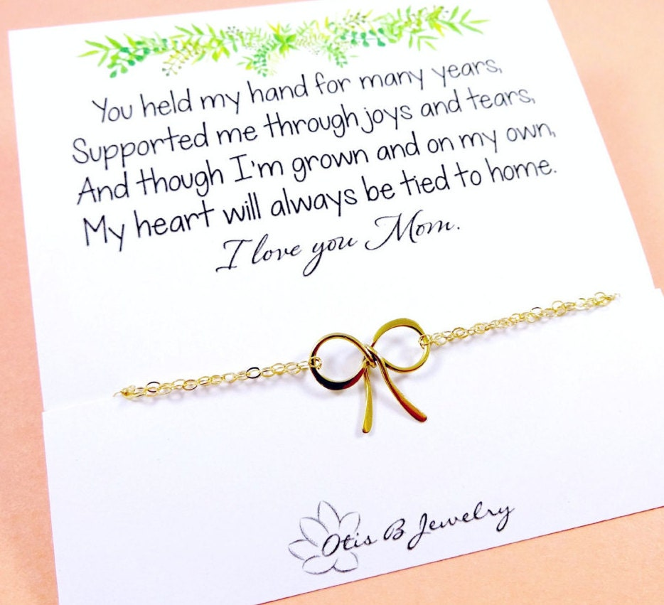 Gifts for mom mother of the bride gift gold bow bracelet zoom m4hsunfo
