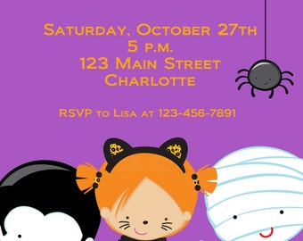 Halloween costume party invitation --   Costume Parade Party - Halloween birthday party invitation -- You print or I print