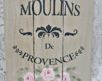 Moulins de Provence, Hand Painted and Created, Wood Fence Art, Wall Display, Original, ECS