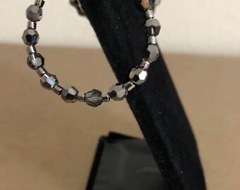 Silver Swarovski Crystal Hoop Earrings