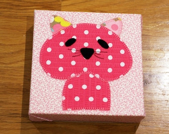 Pink Polka Dot Cat - Nursery Wall Art - Toddler Room Wall Art - Fabric Canvas Print - In Stock Ready to Ship