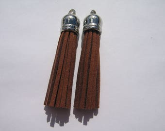 set of 2 brown suede tassels silver for your jewelry making