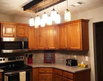 Farmhouse Mason Jar Light Chandlier/ Rustic Kitchen Light / Mason Jar Light  / Kitchen Light