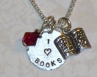 Book Lover Necklace, Book Lover Jewelry, I Love Books Hand Stamped Sterling Silver Charm Necklace, Book Lover Gift