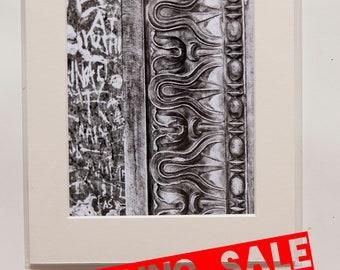 Roma, Italy, Pantheon closeup, black & white A4 print SALE-21